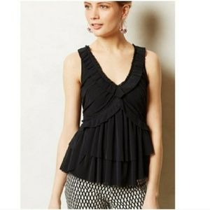 Anthropologie Deletta Amaris Black Ruffle Tank